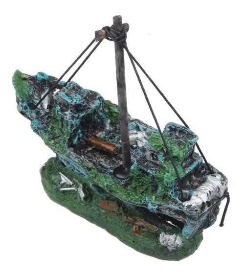 Navio Naufrágio P/aquário Barco À Vela Afundado Ornamento