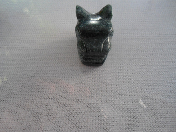 Cabeza De Jaguar En Jade Manzano Y Obscuro - Jade Jadeíta