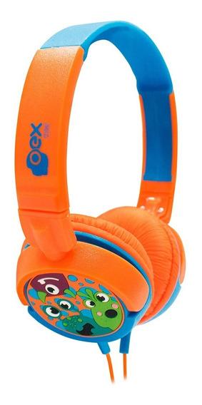Headphone Fone Kids Criança Dino Azul E Laranja Hp301 - Oex