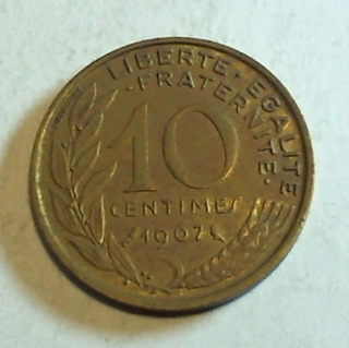 Francia - Moneda De 10 Centimes - Año: 1967