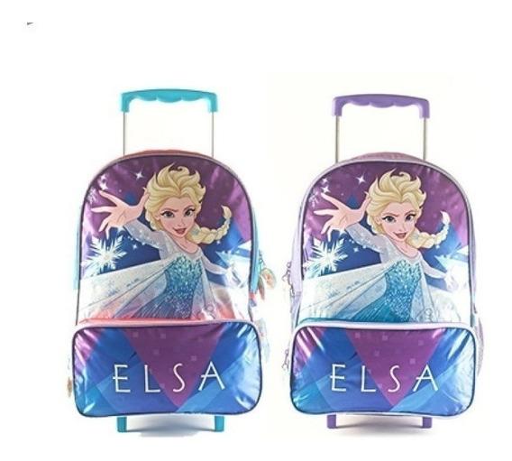 Mochila Frozen Carrito 16 Pulgadas Elsa Escolar Orignial