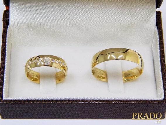 Par De Alianças De Ouro 18k Com Diamantes