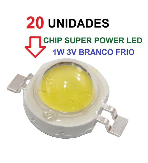 20 Chip Super Power Led 1w 3v Branco Frio Original Frete Bom