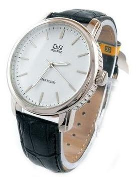 Relógio Masculino Prata Couro Preto Grande Leve Original Q&q