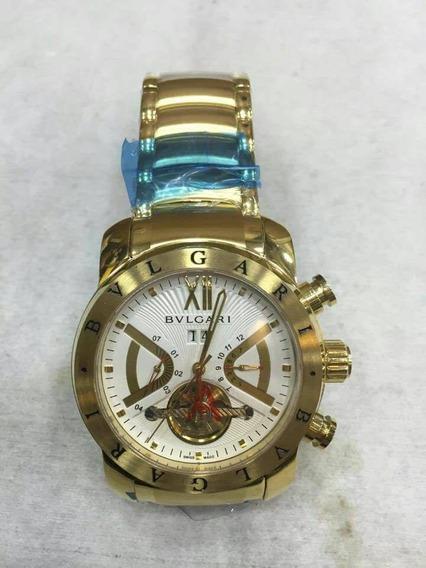 Relógio Masculino Bv Automatico Iron Man Dourado Todo Em Aço