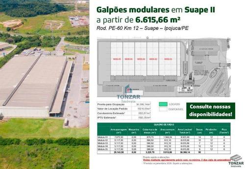 Galpão Modular Para Locação, Condomínio Fechado, Suape, Ipojuca/pe. - Ga0557