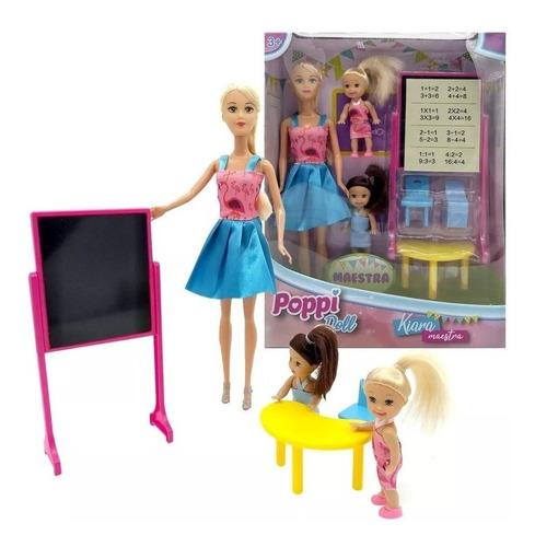 Muñeca Kiara Maestra Dos Alumnos Accesorios Poppi Doll