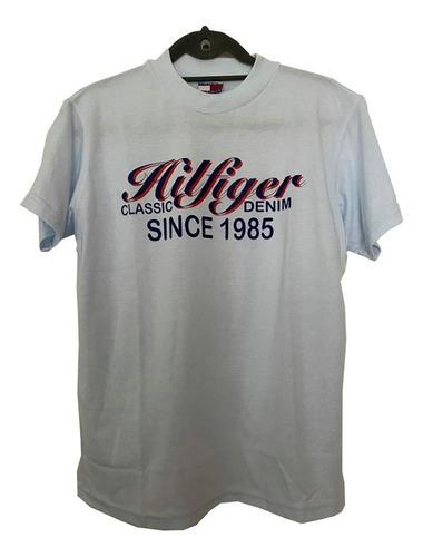 Remera Celeste Claro Importada Con Logo Tommy Hilfiger