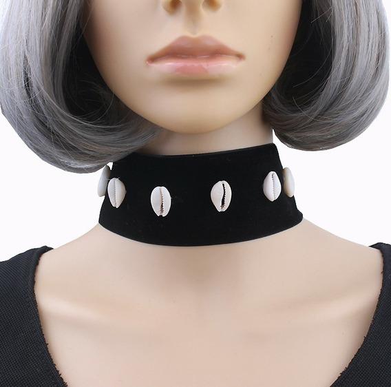 Collar Gargantilla Terciopelo Con Conchas Moda Punk