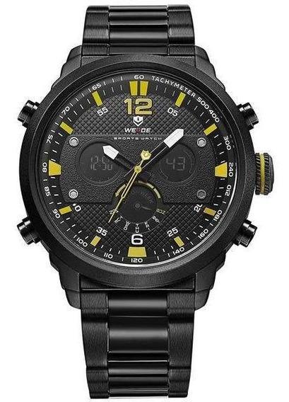 Relógio Masculino Weide Anadigi Wh-6303 - Preto E Amarelo