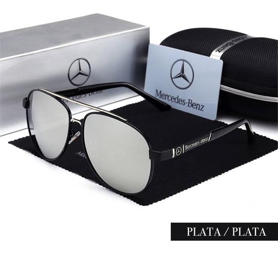 Lentes De Sol Gafas Polarizados Mercedes Benz Plata/plata