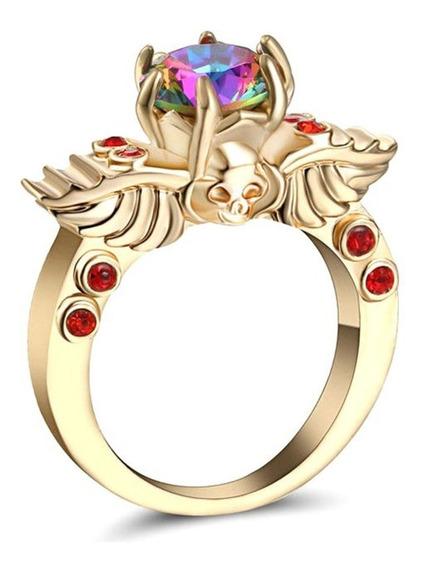 Anel Banhado Ouro Feminino Pedra Místico Arco Iris Dia 72 I