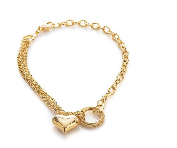 Pulseira De Ouro 18k Coração Liso Circulos Trabalhados 21cm