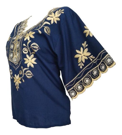 Blusa Araña Azul Marino Algodon 100% Hecho En Yucatan