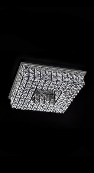 Lustre Plafon De Cristal K9 Quadrado 20x20 +c/ G9 Led Gratis