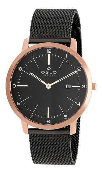 Relógio Oslo Masculino Analógico Preto Com Rose