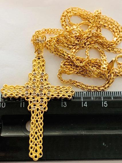 Colar E Cruz Ouro 18k-72cm. -22gr.com Brilhantes