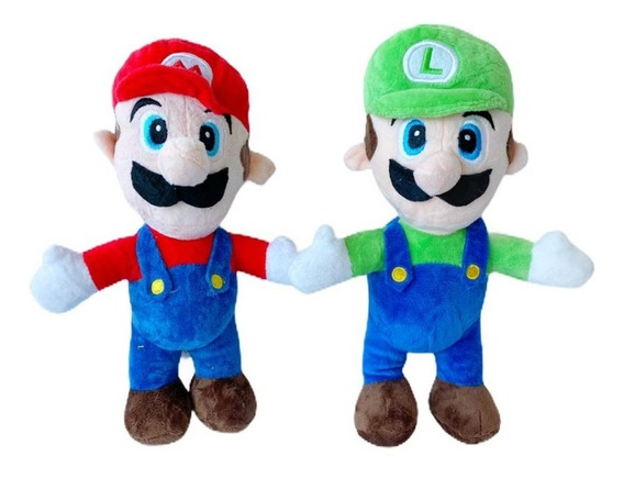 Pack X2 Peluche Mario Luigi Parados Clasicos Muñecos Juego