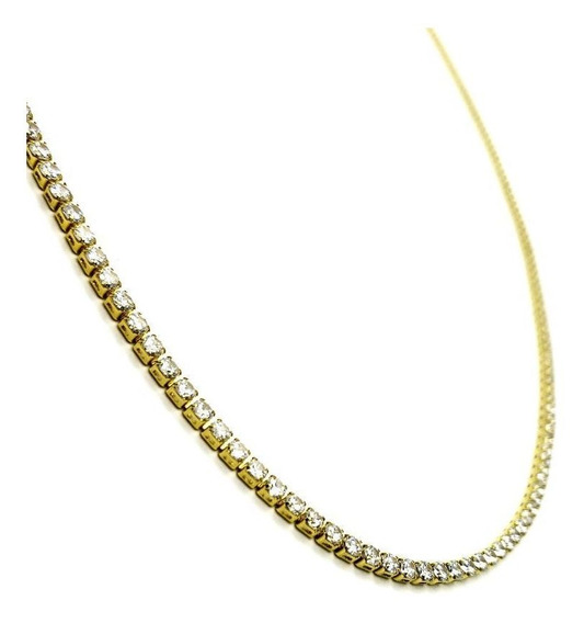 Colar Riviera Zirconias Cristal Longo Banho De Ouro 18k 4128