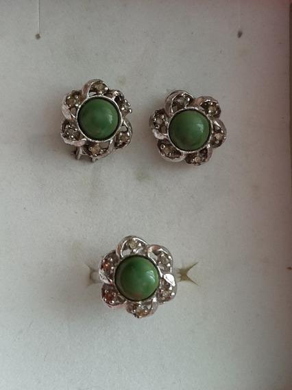 Juego De Aretes Y Anillo Vintage Verde