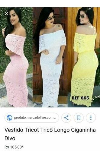 Vestido Longo De Tricô Tricot Cigana Ombro A Ombro Blogueira