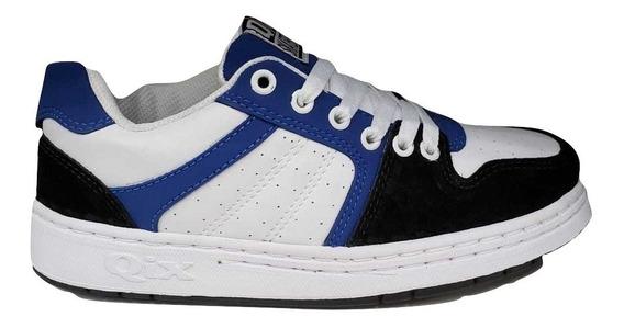 Tênis Qix Skate Retrô 80s Branco Azul Envio Imediato