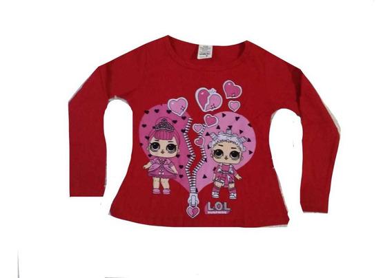 Kit 5 Camiseta Blusa Infantil Manga Longa Menina Personagens