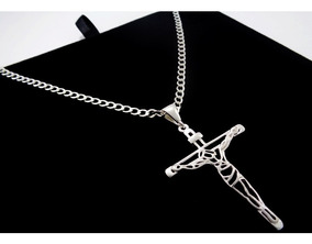 Cordão Prata Pura 60 Cm Masculino Pingente Cruz Jesus Cristo