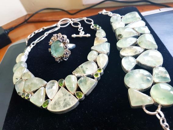 Promoção!!!colar, Bracelete E Anel Em Pedras Prehenita