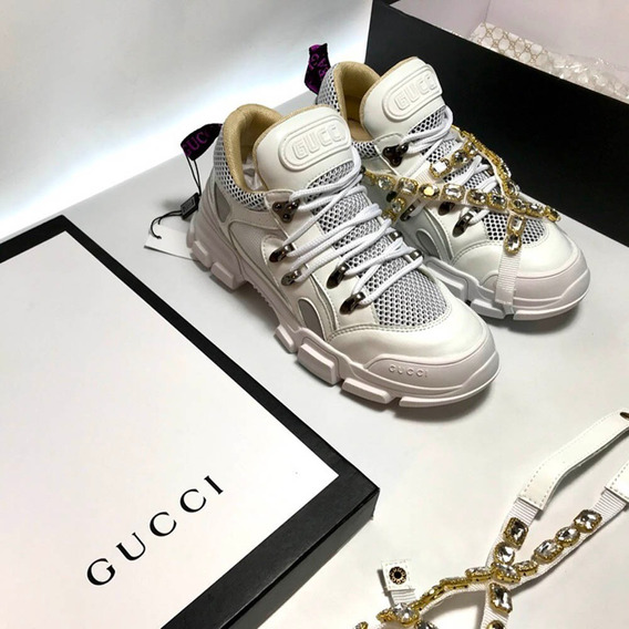 Gucci Flashtrek Cristais Removíveis Couro Branco