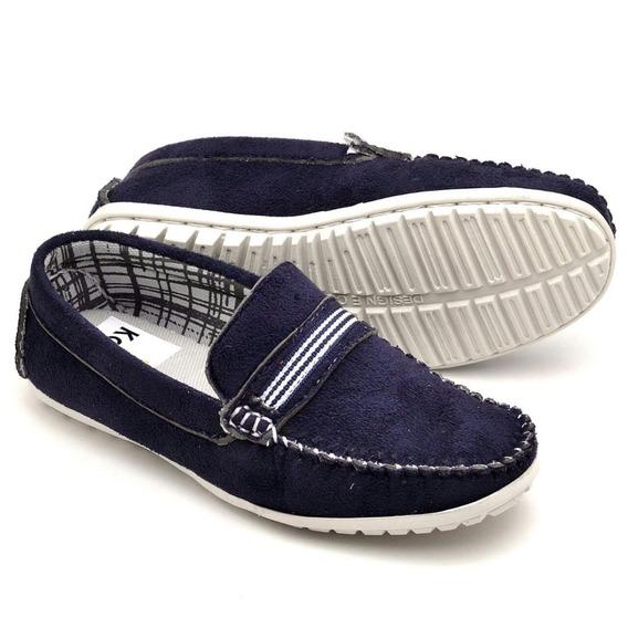 Sapato Mocassim Infantil Masculino Em Couro Casual 3 Cores