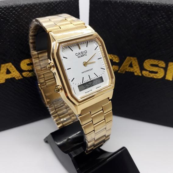 Relógio Cassio Digital Analógic Gold Off White Aq-230 Unisex