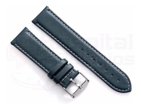 Pulseira Couro Verde 18mm Lisa Macia Pespontada P/ Relógio