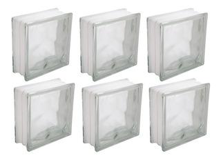 Bloco Tijolo De Vidro Transparente - Kit Com 6 Peças