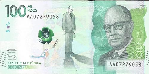 Imagen 1 de 2 de Billete $100000 Serie Aa