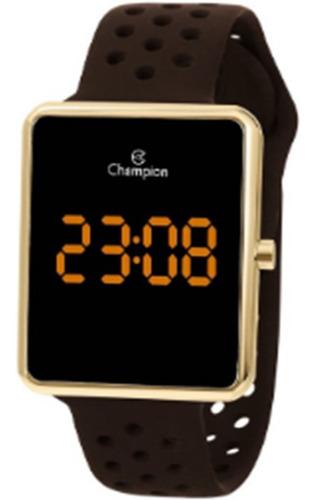 Relógio Champion Feminino Led Dourado Chocolate Ch40081y