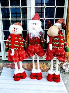 3 Pzas Muñeco Grande De Navidad Estirables 2 Alturas