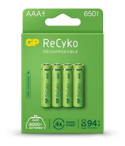 Imagen 1 de 2 de Pilas Baterías Aaa Recargables Gp 650mah Cartón X4 Promo