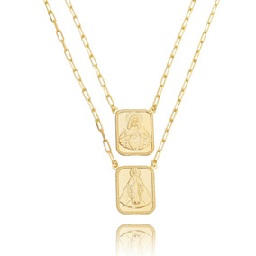 Maxi Escapulário Dourado Corrente Cartier Elos Semijoia Ouro