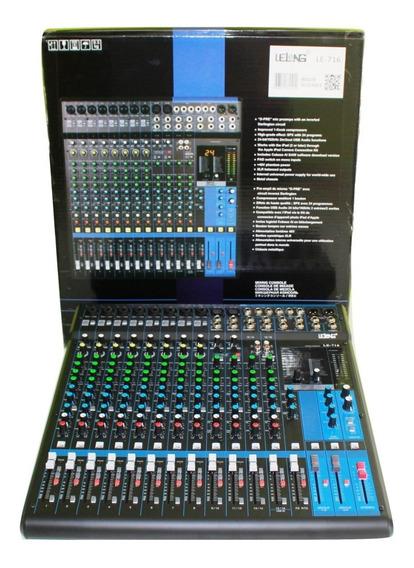Mesa De Som 16 Canais Le-716 Entradas P10 Microfone Guitarra