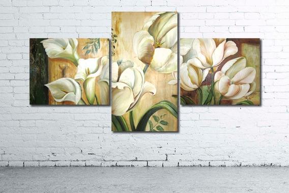 Cuadro Triptico Moderno 130x80-147x80cm Flores Deco Hogar Diseño Personalizado