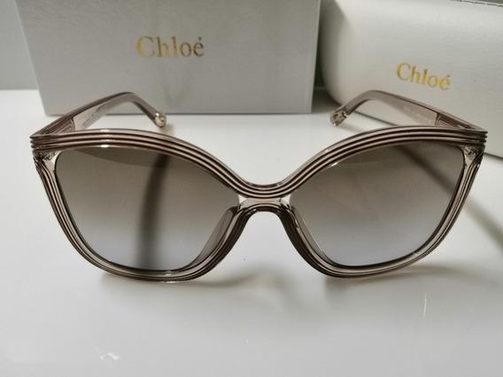 Óculos De Sol Chloé Ce737s Marrom Claro E Lentes Marrom
