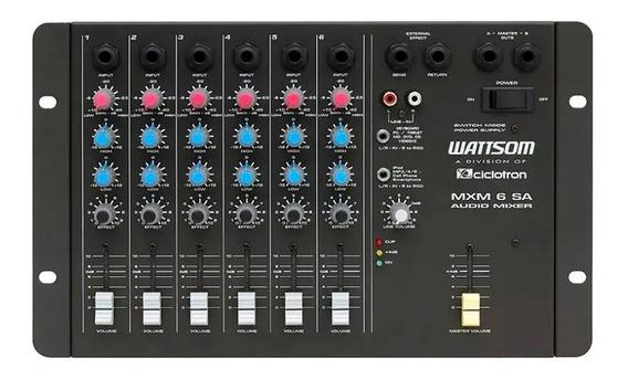Mesa De Som Wattsom Ciclotron 6 Canais Mxm 6 Sa Mixer Novo