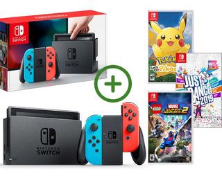 Nintendo Switch Neon Con 3 Juegos Originales, Nuevo Sellado