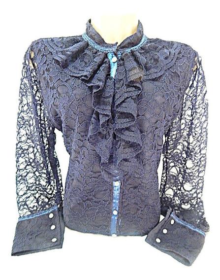 Blusa Prenda Renda Gaucha Azul Escuro Feminino