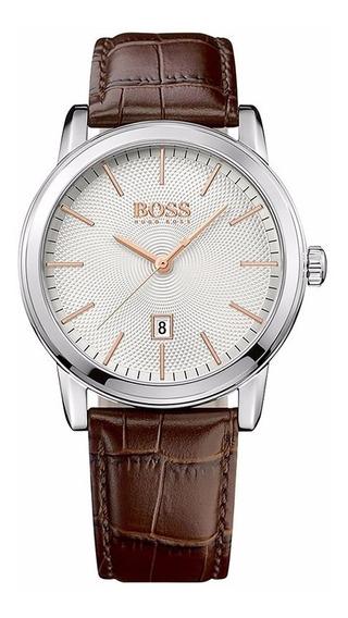 Reloj Hugo Boss 513399 Correa Cuero Cafe Original Y Nuevo
