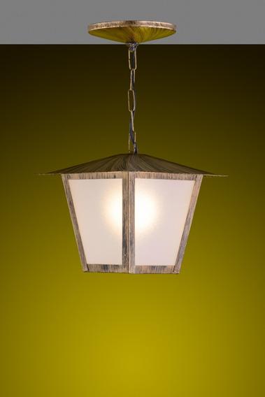 Pendente Colonial Quad. Grande Ideal Iluminação Ouro Velho