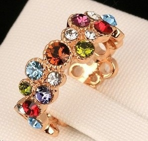 Hermoso Regalo Anillo Multicolor Cristales Baño Oro Rosa 18k