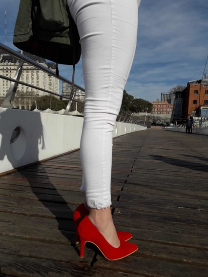 Zapatos Stilettos Rojos Gamusados Talle 40 Nuevos
