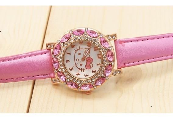 Relógio Feminino Pulso Hello Kitty Infantil Adulto-rosa Bebê